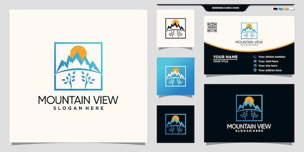 Logo vista montagna con concetto di sole e cubo e design del biglietto da visita vettore premium