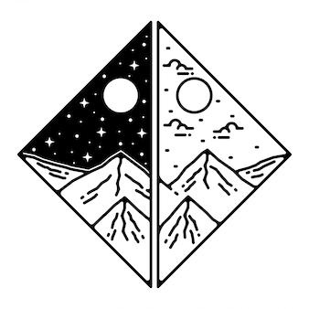 Design distintivo di montagna vintage monoline