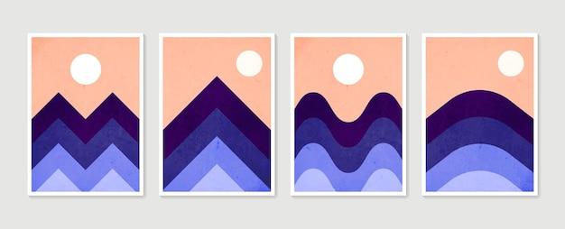 Set di arte della parete di montagna. sfondi paesaggi toni della terra con la luna e il sole.