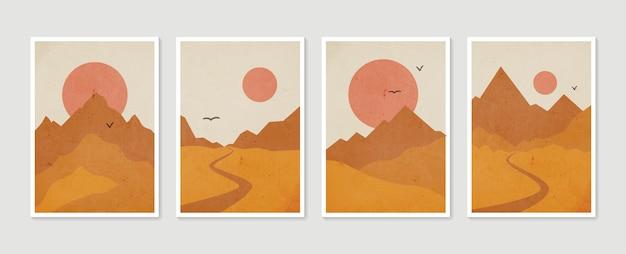 Set di arte della parete di montagna. paesaggi dai toni della terra con luna e sole.