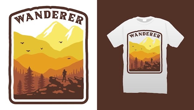 Design della maglietta del vagabondo della montagna