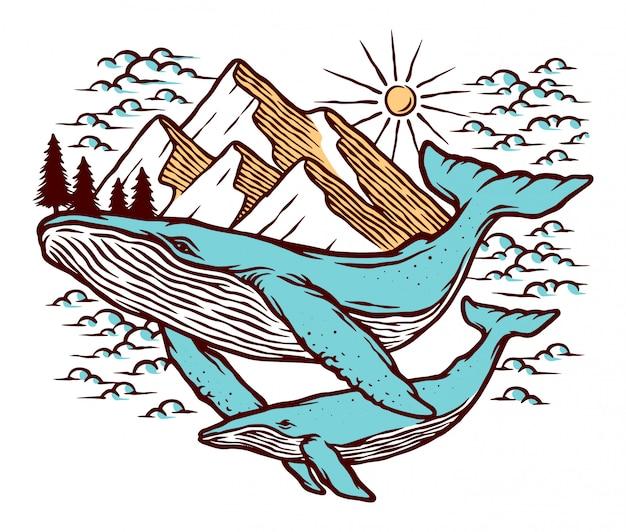 Illustrazione di montagna e balena Vettore Premium