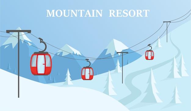 Paesaggio invernale di montagna con funicolare