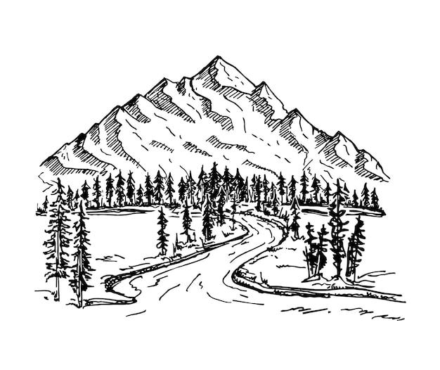 Montagna con alberi di pino e paesaggio paesaggio alpino foresta e catene montuose schizzo style