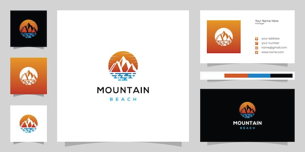 Montagna con mare, panorama del logo della spiaggia e ispirazione del modello di progettazione del biglietto da visita