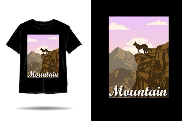 Disegno della maglietta silhouette avventura lupo di montagna