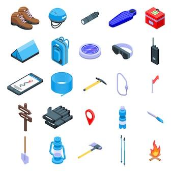 Set di icone di attrezzatura alpinismo, stile isometrico
