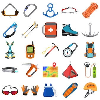 Set di attrezzatura per alpinismo, stile piatto