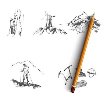 Sportivi di alpinismo che scalano montagne, campeggio e illustrazione di attrezzature speciali
