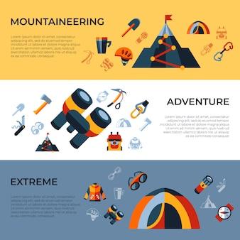 Set di icone di tecnologia di alpinismo