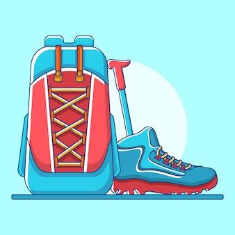 Strumenti e attrezzature per alpinismo in flat design illustration