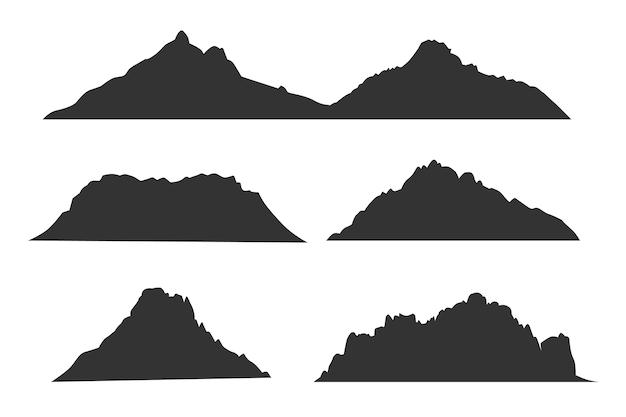 Sagome nere di montagne per set di etichette all'aperto o da viaggio. modello di montagna sagoma nera, illustrazione delle montagne a picco degli altopiani