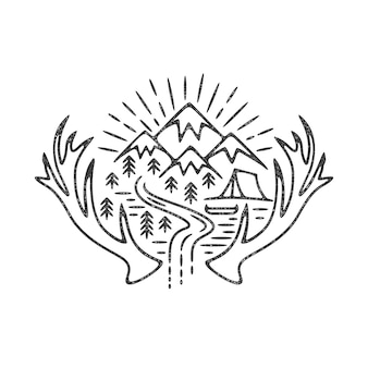 Illustrazione di campeggio di montagne
