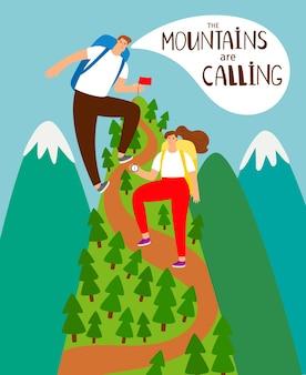 Scalare le montagne. ragazzo e ragazza escursionisti scalare la montagna illustrazione, fumetto persone raggiungimento picco, alpinismo concept cartoon