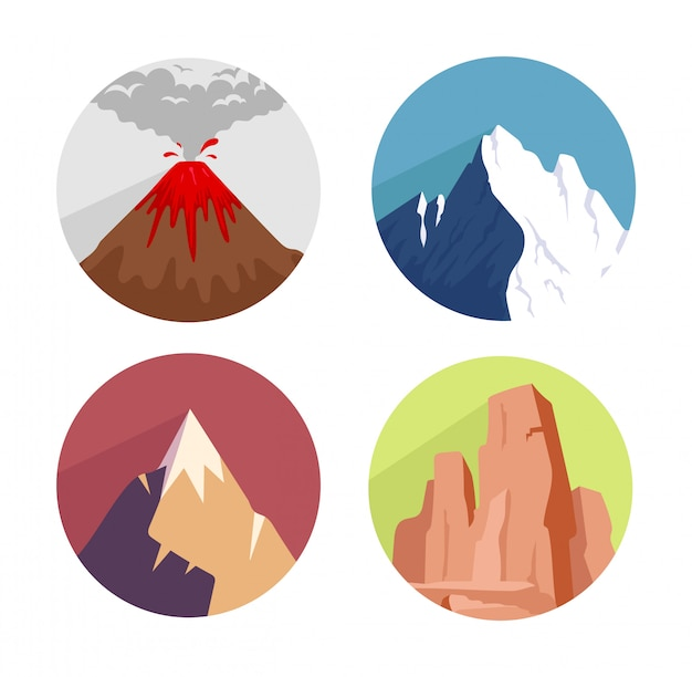 Set di icone di concetto di montagne