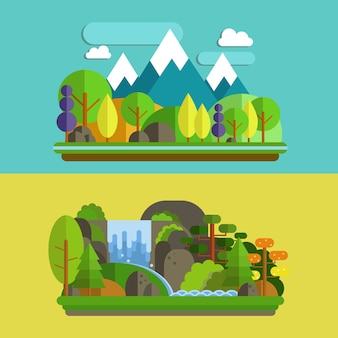 Montagne, foresta e cascata in design piatto design illustrazione vettoriale