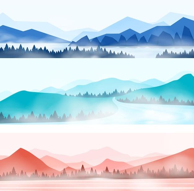 Paesaggio di montagne. silhouette panorama della foresta nebbiosa e cime innevate, panorama della natura