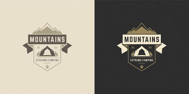 Illustrazione di campeggio avventura emblema logo montagne