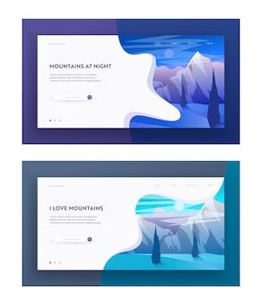 Montagne di notte e mattina set di pagine di destinazione del sito web