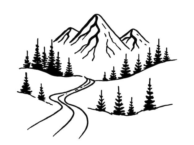 Strada di montagna. paesaggio nero su sfondo bianco. picchi rocciosi disegnati a mano nello stile di abbozzo. illustrazione vettoriale.