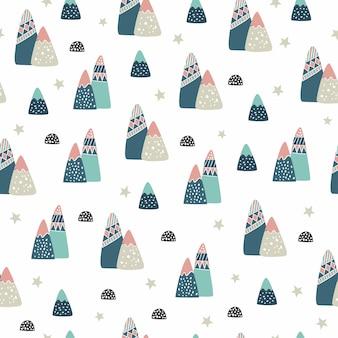 Seamless pattern di montagne.