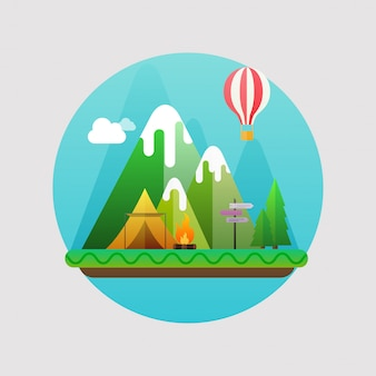 Paesaggio estivo di montagna. concetto con l'illustrazione di campeggio piana delle icone di viaggio.