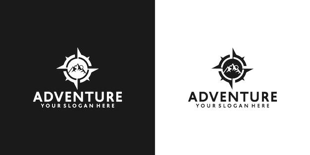 Logo vintage montagne e bussola di direzione in bianco e nero