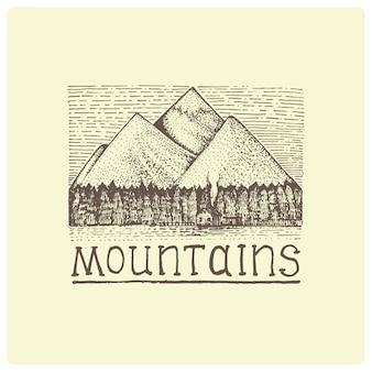 Montagne con casa e foresta incisa, illustrazione disegnata a mano in stile scratchboard xilografia, disegno vintage