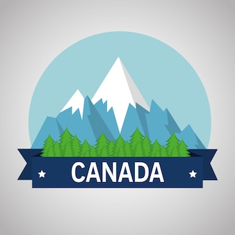 Montagne con neve scena canadese