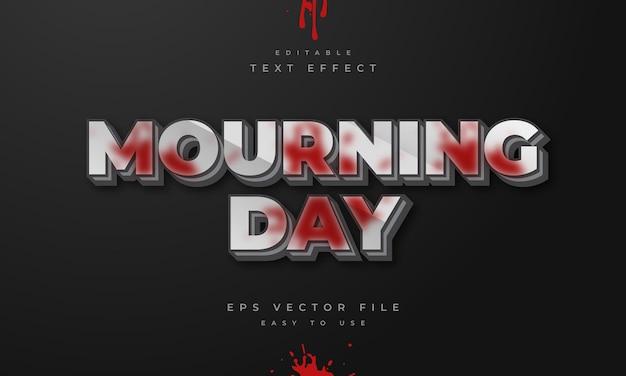 Effetto di testo 3d modificabile del giorno del lutto con schizzi di sangue