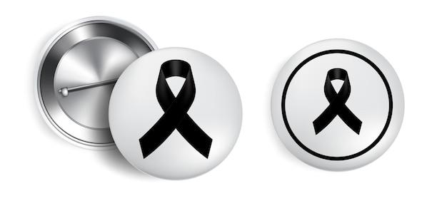 Simbolo di lutto con nastro nero rispetto sul distintivo pin Vettore Premium