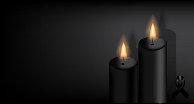 Simbolo del lutto con nastro nero rispetto e candela.