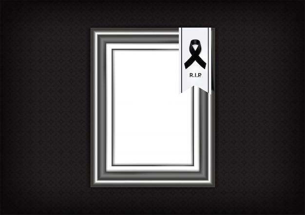 Simbolo di lutto con nastro di rispetto nero e cornice sul banner di sfondo texture. rest in peace illustrazione funerale.