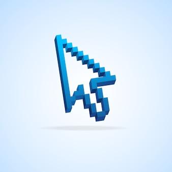 Cursore pixel freccia del mouse isolato su azzurro