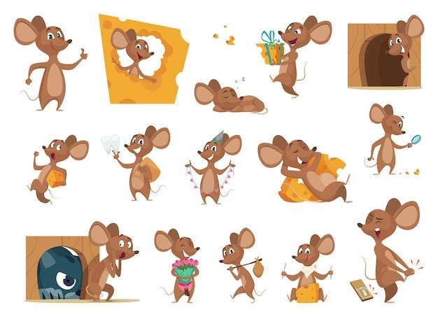 Fumetto del mouse. piccoli topi in azione pone personaggi di vettore di animali domestici mascotte amichevoli animali da laboratorio. mouse dell'illustrazione che mangia formaggio e situazione con il gatto