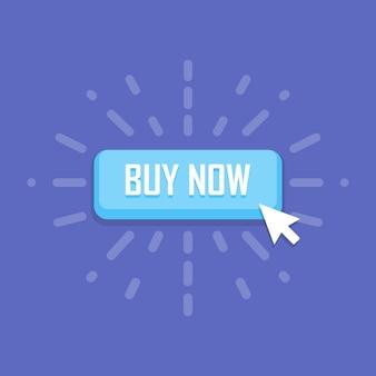 Fare clic con il mouse sull'icona del pulsante acquista ora. illustrazione vettoriale.