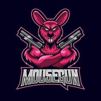 Mouse esport logo modello design illustrazione vettoriale