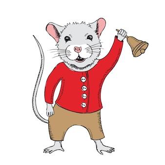 Il topo tiene una campana di scuola illustrazioni disegnate a mano