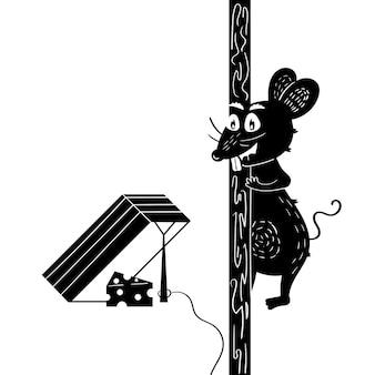 Il topo va a caccia di formaggio accanto a una trappola per topi. il roditore affamato caccia. grafica vettoriale disegnata a mano in bianco e nero