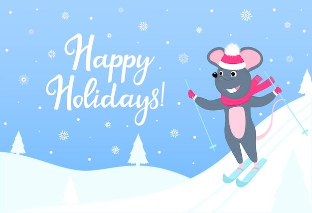 Il topo sta sciando. banner orizzontale di buone vacanze con paesaggio invernale. biglietto di auguri per capodanno e natale.