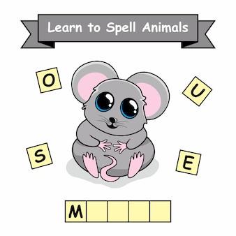 Mouse impara come si scrive foglio dei nomi di animali