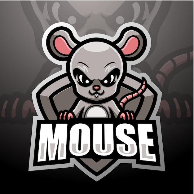 Design del logo esport della mascotte del topo
