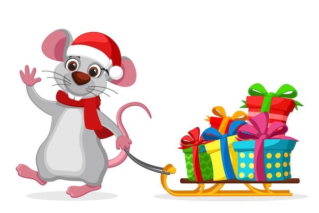 Il mouse tira una slitta con scatole regalo su uno sfondo bianco. carattere del nuovo anno