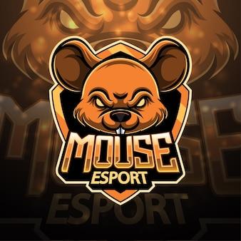 Design del logo mascotte sport del mouse