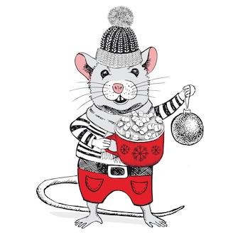 Illustrazione disegnata a mano di vettore del topo carta di capodanno