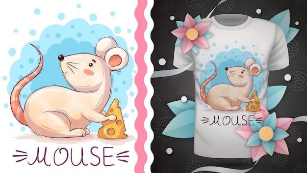 Topo con formaggio - personaggio dei cartoni animati infantile animale