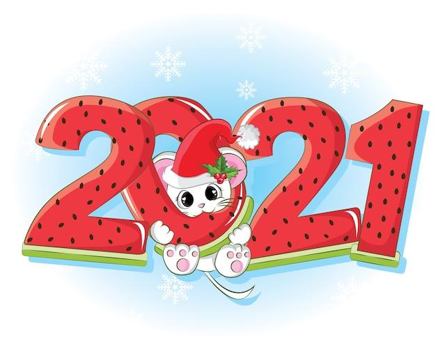 Mouse con numero di anguria per il nuovo anno