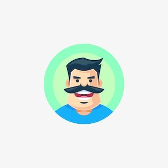 Illustrazione di carattere uomo baffi