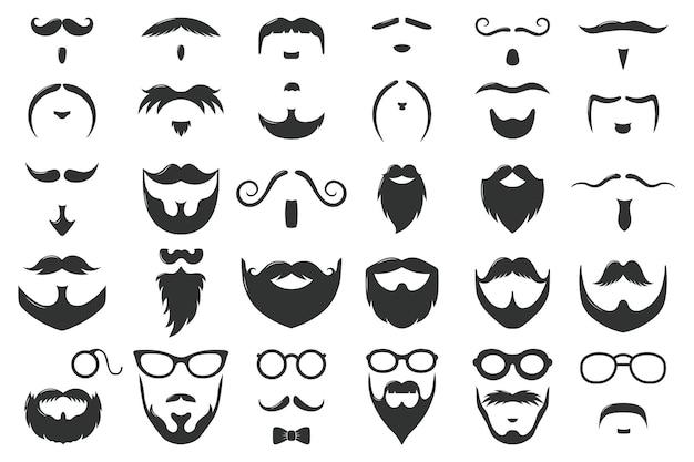 Baffi e barbe. set di simboli maschili vintage hipster baffi, baffi e barba. acconciatura viso gentiluomo. capelli ricci neri, occhiali e fiocco, logo del barbiere