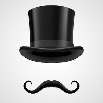 Illustrazione di mago cappello baffi e tubo da stufa